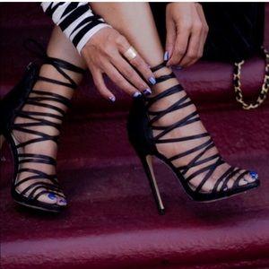 Marcel- black leather heel